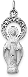925 Sterling Silver Cubic Zirconia Cz Miraculous Medal Pendant Charm Necklace Religious Fine Jewelry For Women