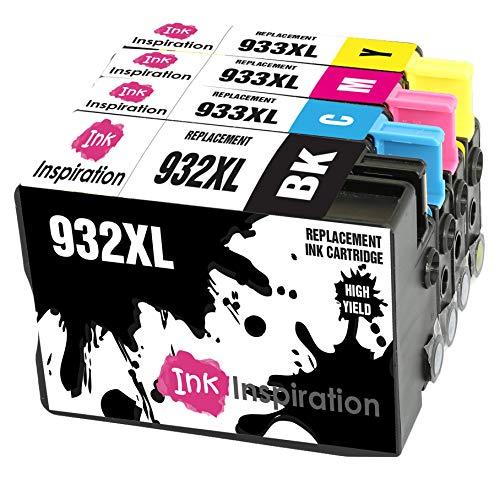 INK INSPIRATION® Ersatz für HP 932XL HP 933XL 932 933 XL Druckerpatronen 4er-Pack, kompatibel mit HP Officejet 6600 6700 7110 7610 7612 7620 6100 7510 7600, Schwarz/Cyan/Magenta/Gelb