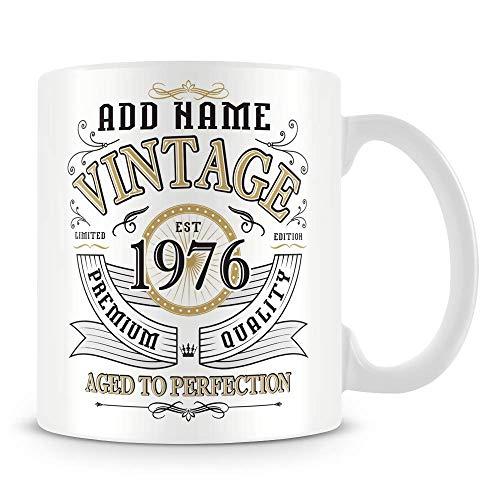 Taza de café vintage 1976 añejado a la perfección regalo personalizado taza de café de cerámica, 11 onzas, color blanco