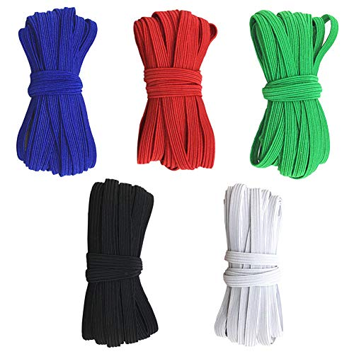 164 Yards 5 Color Elastic Bands for Sewing 1/4 inch Flat Elastic String Cord Rope Knit Braided Stretch Strap Elastic Band for DIY Sewing Crafts (32.8 Yards/Roll)