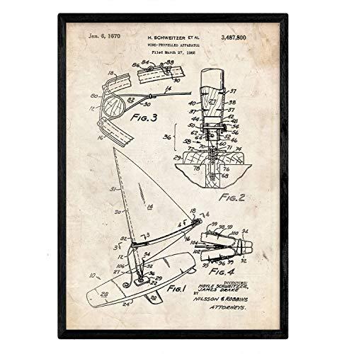 Nacnic Poster con patente de Tabla de windsurf. Lámina con diseño de patente antigua en tamaño A3 y con fondo vintage