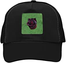 Nichildshoes hat Mesh Cap Hat for Men Women Unisex,Print Black Baccara Rose