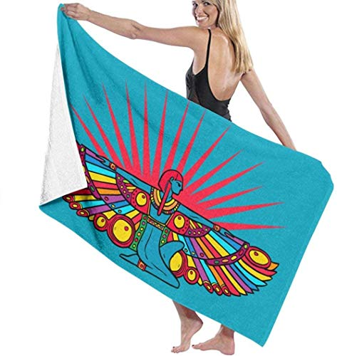 Beach Towel,Soft Super Absorbent Lightweight Bath Towel Cleopatra Dancing Rainbow Wings Bath Towel Adult Soft Microfiber Printed Beach Towels Travel Towel Bath Towels Suitable For Children And Adults