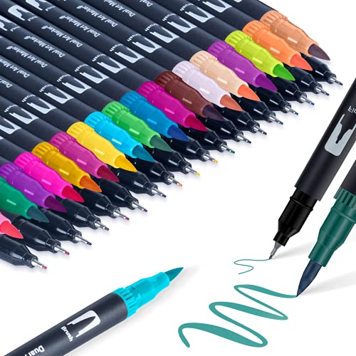Filzstifte Pinselstifte Brush Pen Fineliner - APOGO 36 Farben Doppelfasermaler Pinselstift Handlettering Stifte Filzstifte für Erwachsene Mandalas, Bullet Journal, Kalligraphie, Skizzieren, Malbücher