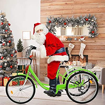 TOUNTLETS Adult Trike, Cruiser Bicycles for Women, Multiple Speeds, 24-Inch 3 Wheel Bike, Adult Tricycle 1/7 Speed 3-Wheel Front and Rear Fenders, Large Cruiser Seat, and Rear Cargo Basket,Green