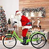 TOUNTLETS Adult Trike, Cruiser Bicycles for Women, Multiple Speeds, 24-Inch 3 Wheel Bike, Adult Tricycle 1/7 Speed 3-Wheel Front and Rear Fenders, Large Cruiser Seat, and Rear Cargo Basket (Green)