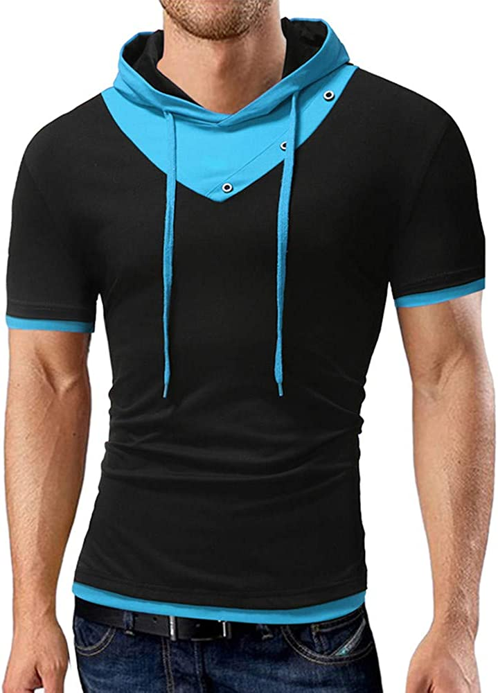 WUAI-Men Fashion Hippie Shirts Casual Short Sleeve Patchwork Pullover Athletic Sports Hoodies Tops