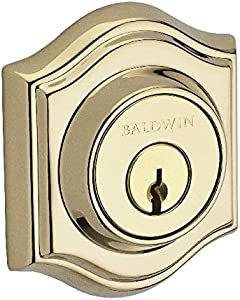 Baldwin Reserve DCTAD003S Double Cylinder Traditional Arch Deadbolt with Smartkey Lifetime Brass Finish