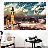 ganlanshu Big Ben británico Moderno Lienzo Pintura al óleo Hermosa Vista Nocturna Torre del Reloj Pared Arte Imagen Sala decoración sin Marco Pintura 70 cm X 105 cm