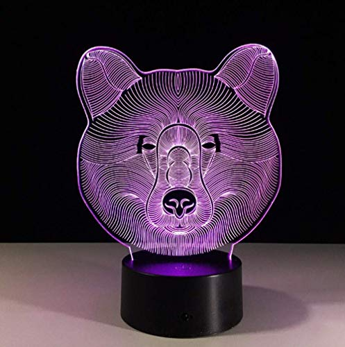 Luz de noche pequeña Oso de luz 3D LED de 7 colores Luz de noche para niños Touch LED Lámpara de escritorio USB Luz para dormir Sensor de movimiento Luz 3D Luz de noche