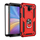 Strug for Samsung Galaxy J6 Plus / J6+ Case,Heavy Duty Shockproof Protection Built-in 360 Rotatable Ring Magnetic Car Mount Case Cover with Screen Protector for Samsung Galaxy J6 Plus 2018(Red)