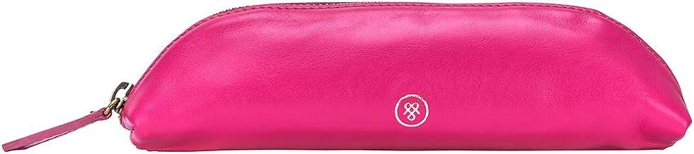 Maxwell Scott Women's Leather Makeup Brush Case - Lorena Nappa Hot Pink