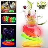 Heldenglas Untersetzer aus LEUCHTENDEM Acrylglas 6er Set für Getränke, Glasuntersetzer rund,...