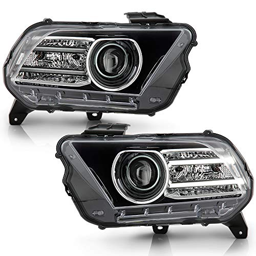ACANII - For [Halogen Upgrade Style] 2010-2014 Ford Mustang LED Tube Projector Headlights Headlamps Assembly Left+Right