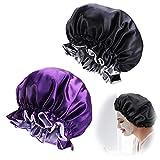 2pcs Bonnet de Nuit en Satin Ajustable Bonnet de Sommeil Chapeau de Sommeil de Nuit Bonnet...