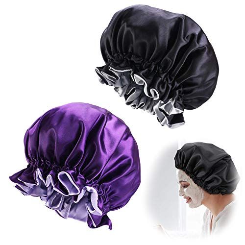 2pcs Bonnet de Nuit en Satin Ajustable Bonnet de Sommeil Chapeau de Sommeil de Nuit Bonnet Couvre-Chef de Nuit Turbans de Cheveux de Sommeil Doux pour Femmes et Filles (Noir + Violet)