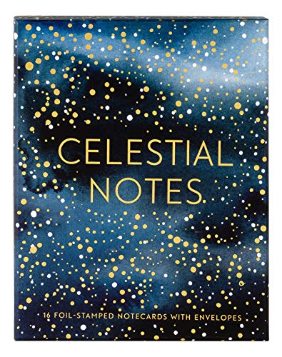 Celestial Notes: 16 Foil-Stamped Notecards with Envelopes (Celestial Star Stationery, Space and Galaxy Watercolor Blank Notecards)