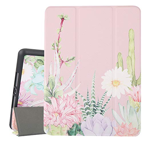 Hi Space iPad 10.2 Case Cactus Pink 2019 iPad 7th Generation Case with Pencil Holder, Cute Succulents Slim Hard Back Shell Protective Cover Shockproof Case with Auto Sleep/Wake for A2197 A2198 A2200