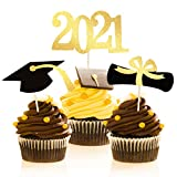 Great Graduatiaon Party Decorations:The graduation cupcake picks can be used for cake,mini cake,icecream,cheese,fruit and other food appetizer you want to decorate.Make your dishes more pretty and warming Safe Material: 2021 Graduation Cupcake Topper...