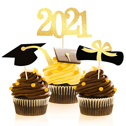48 Graduation Cupcake Toppers 2021 Now $7.99 (Was $16.99)