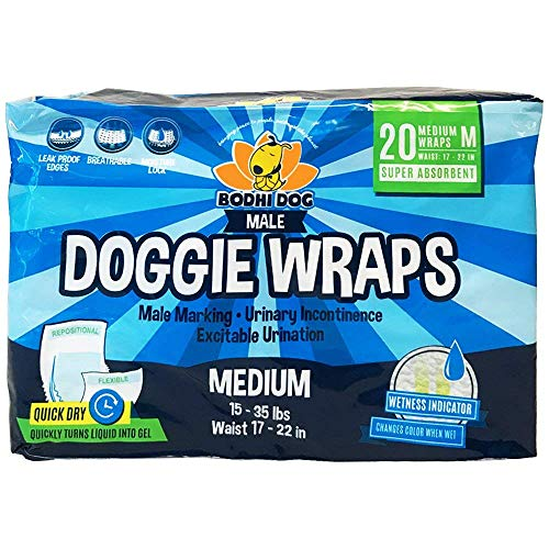 Disposable Dog Male Wraps | 20 Premium Quality Adjustable Pet Diapers with Moisture Control and Wetness Indicator | 20 Count Medium Size