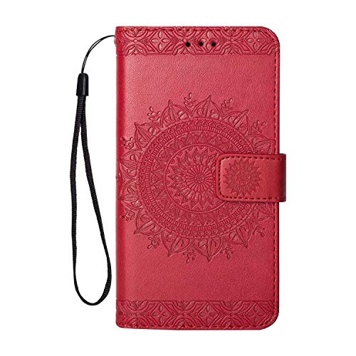 Huawei Y3 2017 Hülle DENDICO Leder Case Flip Brieftasche Tasche [Kredit Karten] [Stand Funktion] Magnet Schutzhülle für Huawei Y3 2017 - rot