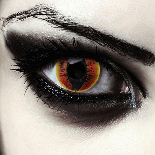 Feurig rote Sauron Kontaktlinsen für Karneval oder Halloween Drachen Kostüm Farblinsen in rot Design: Fire Dragon + gratis Kontaktlinsenbehälter