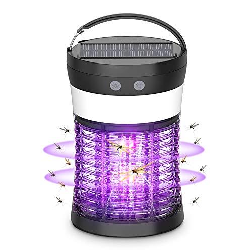 okk Anti Moustique, lampe anti Moustique Avec Panneaux Solaires et Charge USB 1000V Haute Tension Puissante, Convient Pour Intérieur et Extérieur