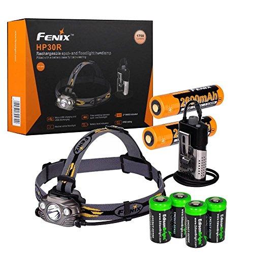 Fenix HP30R 1750 Lumen CREE LED Headlamp (Black color body) 2 X Fenix Li-ion rechargeable batteries and Four EdisonBright CR123A Lithium batteries bundle