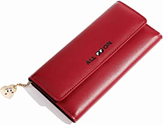 Pusaman New Women's Cute Purse, Zipper Simple Multi-Card Wallet, Clutch Bag Student (Color : Red, Size : 19 * 2.2 * 9.7cm)