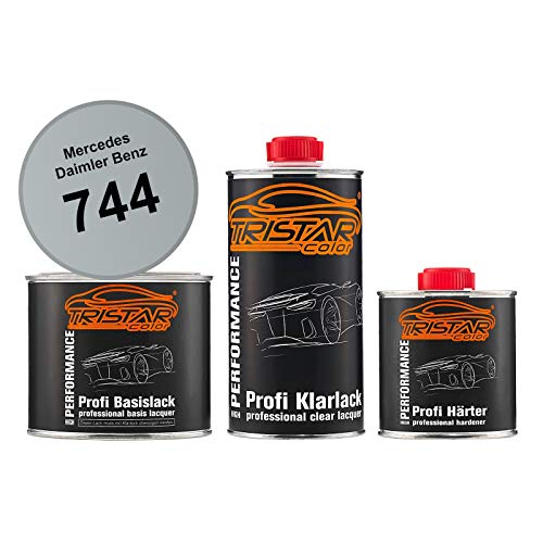 TRISTARcolor Autolack Set Dose spritzfertig für Mercedes/Daimler Benz 744 Brillantsilber Metallic Basislack + 2K Klarlack 1,25L