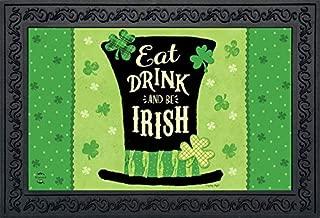 Eat Drink and Be Irish Hat Doormat St. Patrick's Day Indoor Outdoor 18