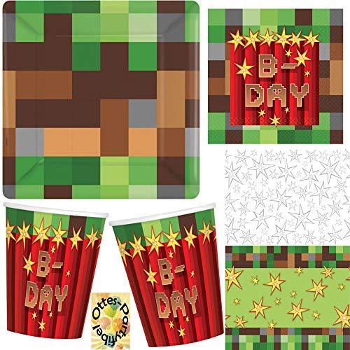 HHO TNT-Party-Set Minecraft-Party-Set 49tlg. für 16 Gamer bekannt aus Minecraft Teller Becher Servietten Tischdecke