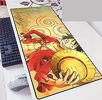 ワンピース大型ゲーミングマウスパッド ワンピースインチ XL 拡張マット デスクパッド ゴム製 One Piece マウスパッド Luffyデスク&マウスパッドワンピーステーブル-800*300*3mm-E_800*300*3MM
