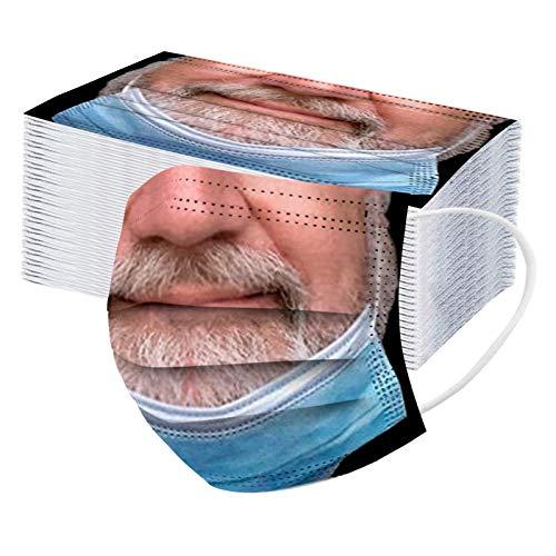 DeaAmyGline Neuheits 50 Stück Einweg mit Lustige Motiv,3-lagig Vliesstoff,Mund-Nasen-Schutz,Atmungsaktive,Multifunktionstuch Halstuch Bandana für Erwachsene
