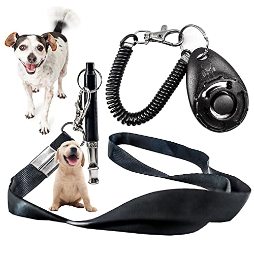 YLCXH Dog Whistle with Training Clicker Kit, Dog Whistle to Stop Barking Neighbors Dog Adjustable with Lanyard Strap Clicker Training for Cats Dog Walking Dog Training