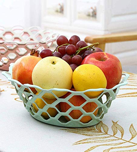 2 pack Bread Basket Fruit Basket, Fruit Stand for Kitchen Countertop, Vegetable Produce Bread Storage Basket (Green and beige)