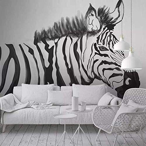Papel tapizpersonalizado Murales de fotos Pintado a mano Negro Blanco Cebra Animal Estudio de pared Dormitorio Sala de estar Pintura de paredPapel machéPeint280X200Cm