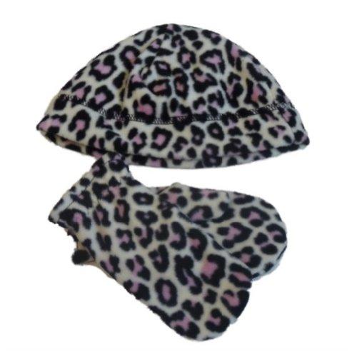 Faded Glory Infant & Toddler Girls Pink Leopard Fleece Beanie & Mittens Hat Set