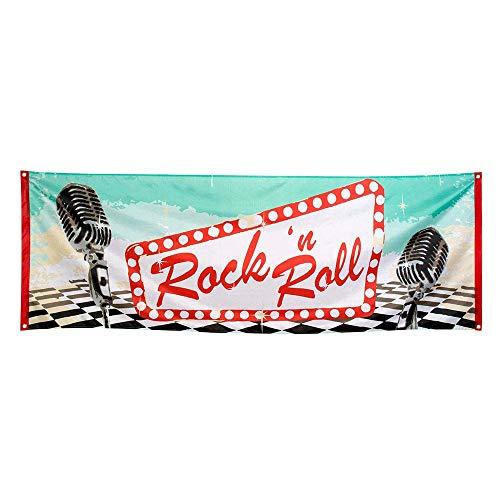 Boland 44852 - Dekorationsbanner Rock´n Roll, 1 Stück, Größe 74 x 220 cm, 50er Jahre, 60er Jahre, Mikrofon, Polyester, Banner, Wanddekoration, Mottoparty, Hängedekoration, Disco, Geburtstag