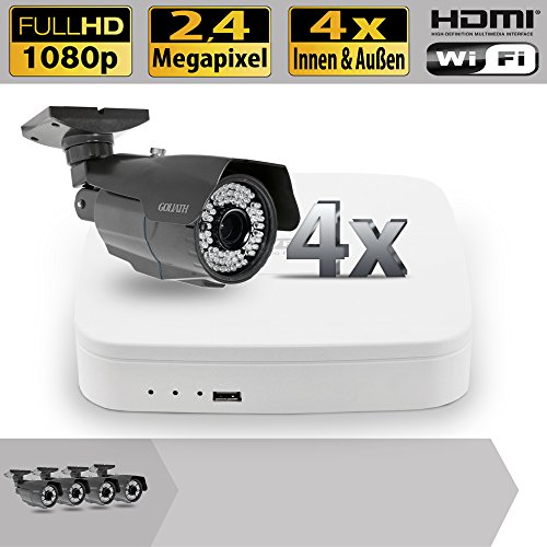 Set 4 canali video HDCVI di sorveglianza DVR 4 all'esterno controllo telecamere 2,4 Megapixel Full HD KP7