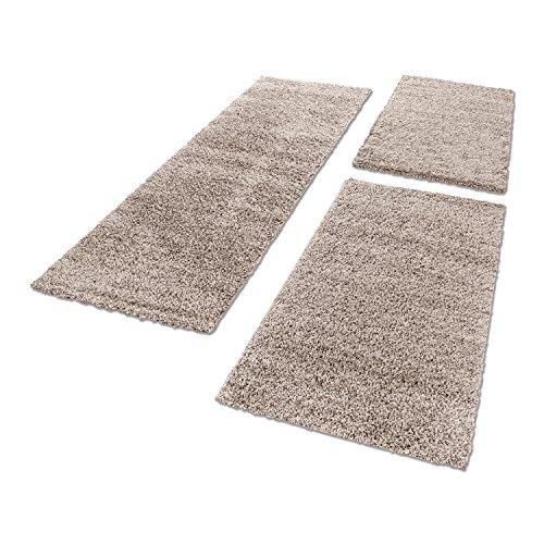 Unbekannt Shaggy Hochflor Teppich Carpet 3TLG Bettumrandung Läufer Set Schlafzimmer Flur, Farbe:Beige, Bettset:2x60x110+1x80x150