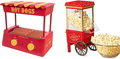 Nostalgia HDR8RY Hot Dog Warmer 8 Regular Sized, 4 Foot Long and 6 Bun Capacity, Stainless Steel Rollers, Red/Yellow & OFP-501 Old Fashioned Popcorn Machine, 1040 W, 120 V, 12 Cup, Red