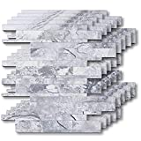 HomeyMosaic Peel and Stick Tile Backsplash PVC Panel Stick on Kitchen Bathroom Wall Floor Decor,Easy DIY Tiles,Subway Ecru Slate Wooden Marble Stone(11'x9',5 Sheets)