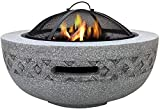 KAYBELE Hleoz Fire Bowls for Garden Fire Pit con Barbacoa Parrilla Estante para jardín y Patio Material de óxido de magnesio Grill Camping Bunda BBQ con póker Parrilla Tapa de Malla
