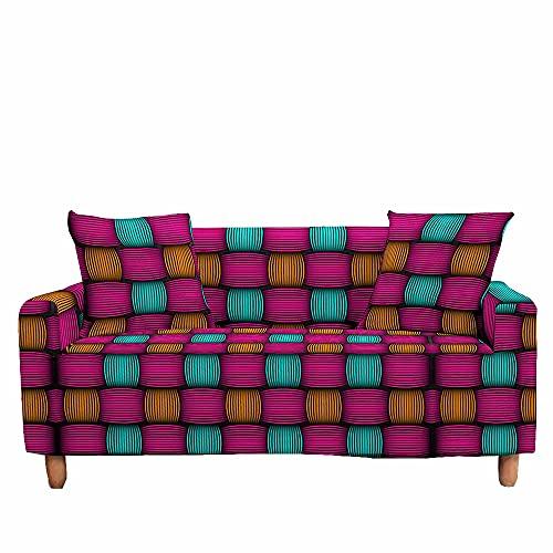 Fansu Funda de Sofá Elástica para Sofá de 1 2 3 4 Plazas,Ajustable 3D Estampada Tejiendo Simulación Cubre Sofa con 1 Funda Cojín,Antideslizante Protector de Muebles (Fucsia,2 plazas (145~185cm))