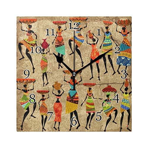 Reloj de Pared Tribal Africano para Mujer, silencioso, sin tictac, Cuadrado, Pintura artística, Reloj para decoración del hogar, Oficina, Escuela