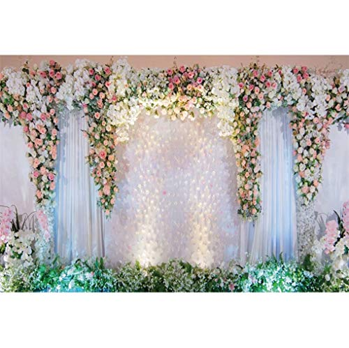 shensu 10x7ft Wedding Backdrops for Photography White Stage Curtain Decorated with Pink Rose Flowers Photography Background Adults Portrait Parties Anniversary Decorations Photo Booth Studio Props