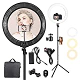 LED Ring Light 19 Inch with Tripod Stand, 48W Dimmable Ring Light Kit 3200K-6500K with Wireless Bluetooth Receiver Phone Holder Carrying Bag for Photo Studio TikTok Camera Video YouTube