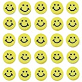 COIRIS 200Pcs Yellow Smile Face Vinyl Beads 9-10mm Flat Round Handmade Polymer Clay Spacer Disc Beads for Chocker Necklace Bracelet Earrings Jewelry Making(RT-E-Smile-Yellow)